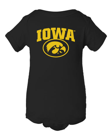 Iowa Hawkeyes Infant Onesie - IOWA Oval Tigerhawk on Black