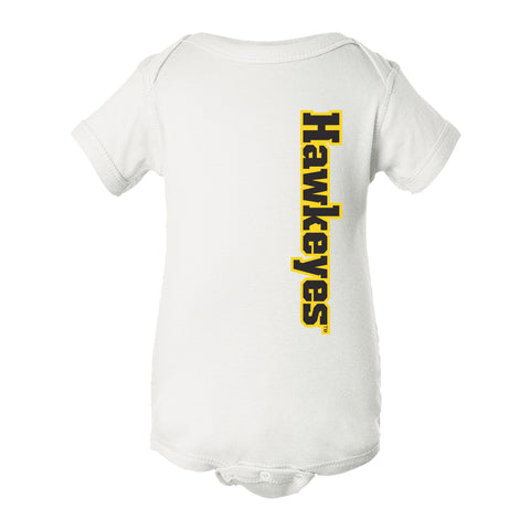 Iowa Hawkeyes Infant Onesie - Vertical Offset Hawkeyes on White