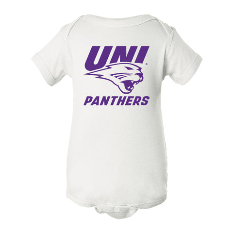 Northern Iowa Panthers Infant Onesie - Purple UNI Panthers Logo on White
