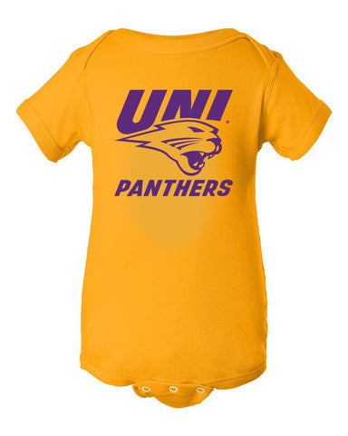 Northern Iowa Panthers Infant Onesie - Purple UNI Panthers Logo on Gold