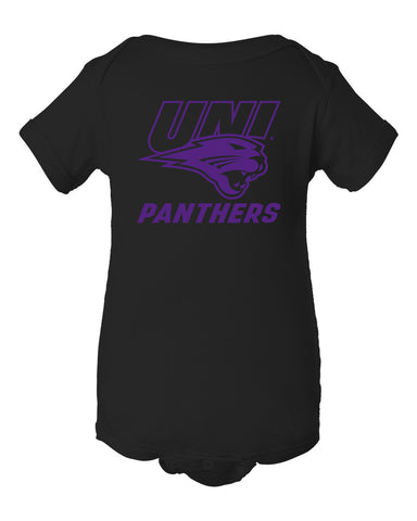 Northern Iowa Panthers Infant Onesie - Purple UNI Panthers Logo on Black