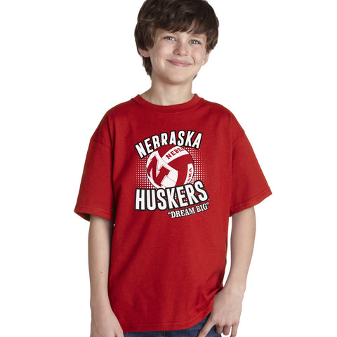 "Nebraska Cornhuskers Volleyball ""Dream Big"" Youth Boys Tee Shirt"