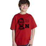 "Abe Lincoln ""No place like NEBRASKA"" Huskers Youth Boys Tee Shirt"
