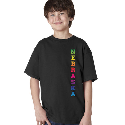 "Rainbow ""NEBRASKA"" Huskers Youth Boys Tee Shirt"