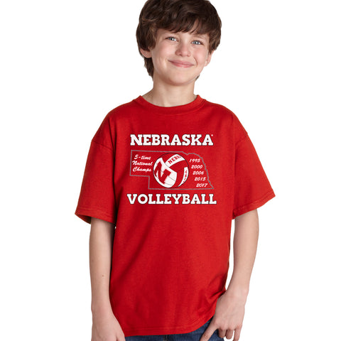 Nebraska Volleyball 5-Time National Champions Youth Boys Tee Shirt