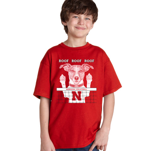 Nebraska Husker Volleyball Spike Dog ROOF ROOF ROOF Youth Boys Tee Shirt