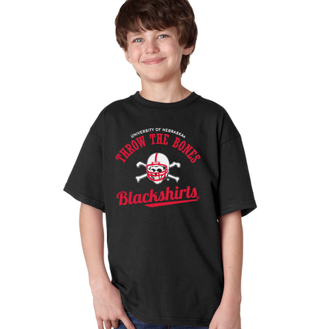 Nebraska Husker Youth Boys Tee Shirt - Script Blackshirts THROW THE BONES