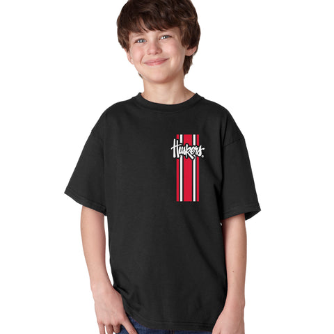 Nebraska Husker Youth Boys Tee Shirt - Vertical Stripe Script Huskers