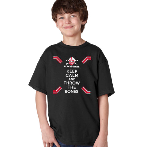 Nebraska Husker Youth Boys Tee Shirt - Keep Calm and THROW THE BONES