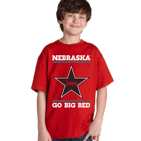 Nebraska Husker Youth Tee Shirt - Star Huskers GO BIG RED