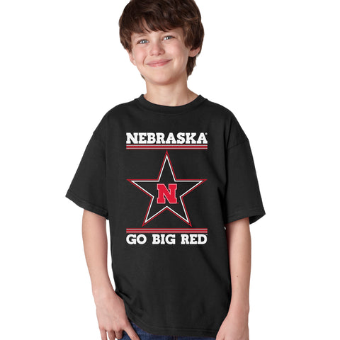 Nebraska Husker Tee Shirt Youth Boys - Star N GO BIG RED