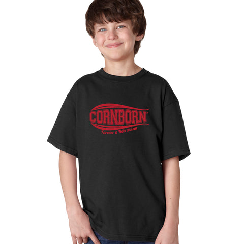 Nebraska Youth Boys Tee Shirt - CORNBORN - Forever a Nebraskan