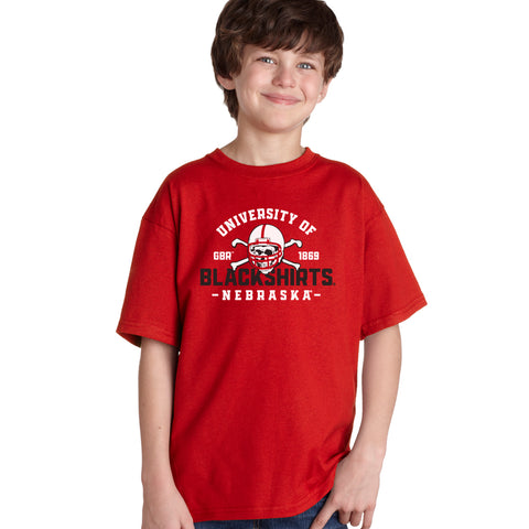 Nebraska Huskers Boys Tee Shirt - University of Nebraska Blackshirts GBR