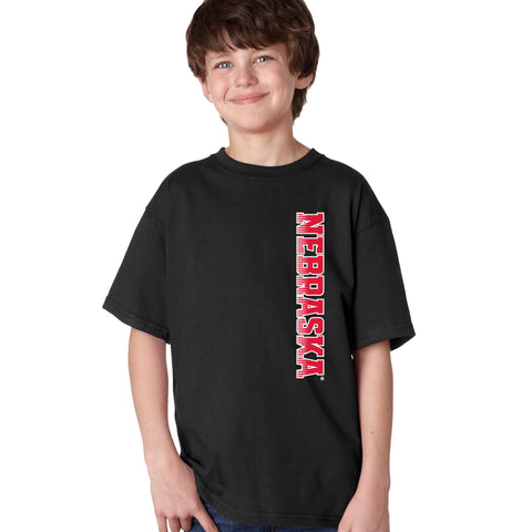 Nebraska Huskers Boys Tee Shirt - Vertical Nebraska Red & White Fade