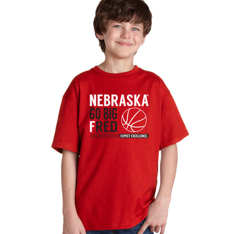 Nebraska Huskers Boys Tee Shirt - Nebraska Basketball - GO BIG FRED