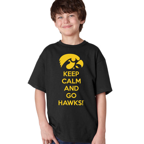 Iowa Boys Tee Shirt - Keep Calm and Go Hawks