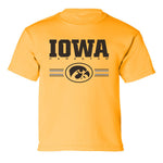 Iowa Hawkeyes Boys Tee Shirt  - IOWA Hawkeyes Horizontal Stripe with Oval Tigerhawk