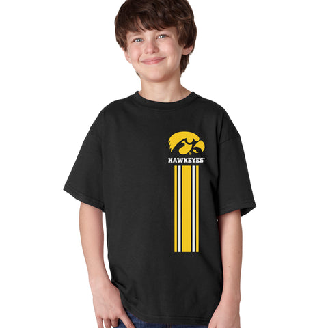 Iowa Hawkeyes Boys Tee Shirt - IOWA Hawkeyes Vertical Stripe with Tigerhawk