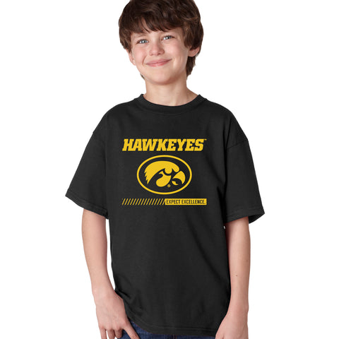 Iowa Hawkeyes Boys Tee Shirt - Hawkeyes with Oval Tigerhawk - Expect Excellence