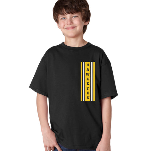 Iowa Hawkeyes Boys Tee Shirt - Vertical Stripe with HAWKEYES