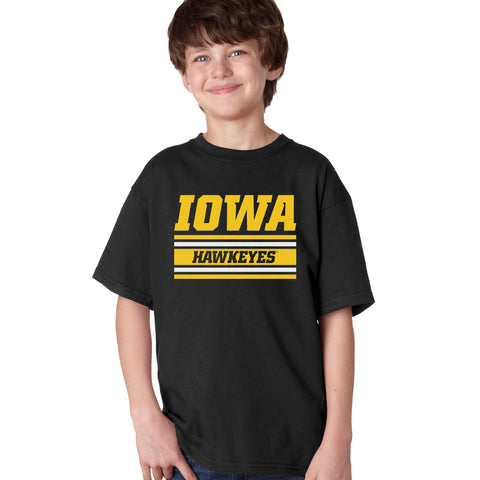 Iowa Hawkeyes Boys Tee Shirt - Horizontal Stripe Italic Iowa HAWKEYES