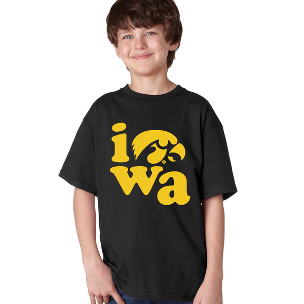 Iowa Hawkeyes Boys Tee Shirt - Iowa Stacked