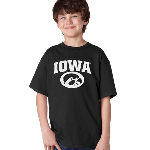 Iowa Hawkeyes Boys Tee Shirt - Arched IOWA with Tigerhawk Oval