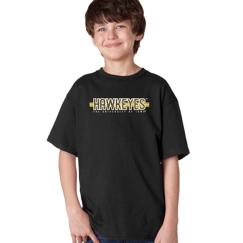 Iowa Hawkeyes Boys Tee Shirt - Hawkeyes Horizontal Stripe