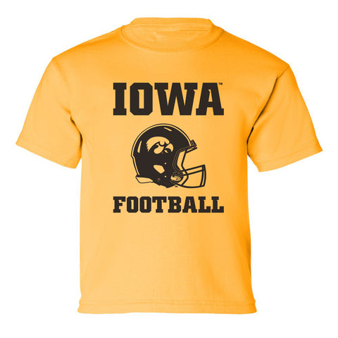 Iowa Hawkeyes Boys Tee Shirt - Iowa Football Helmet on Gold