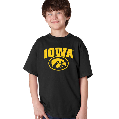 Iowa Hawkeyes Boys Tee Shirt - IOWA Oval Tigerhawk on Black