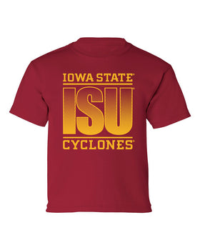 Iowa State Cyclones Boys Tee Shirt - ISU Fade Gold on Cardinal