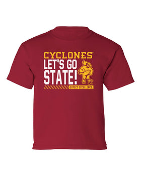 Iowa State Cyclones Boys Tee Shirt - Let's Go State - Expect Excellence