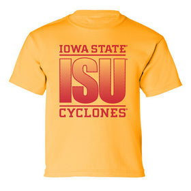 Iowa State Cyclones Boys Tee Shirt - ISU Fade Red on Gold