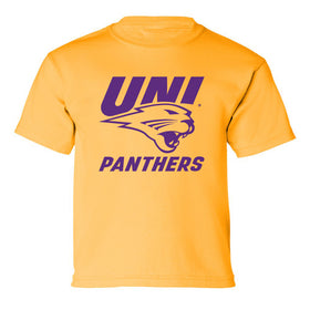 Northern Iowa Panthers Boys Tee Shirt - Purple UNI Panthers Logo on Gold