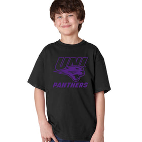 Northern Iowa Panthers Boys Tee Shirt - Purple UNI Panthers Logo on Black