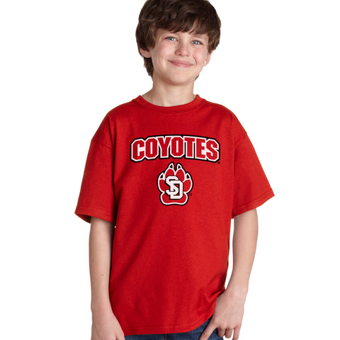 South Dakota Coyotes Boys Tee Shirt - Coyotes with USD Paw Logo