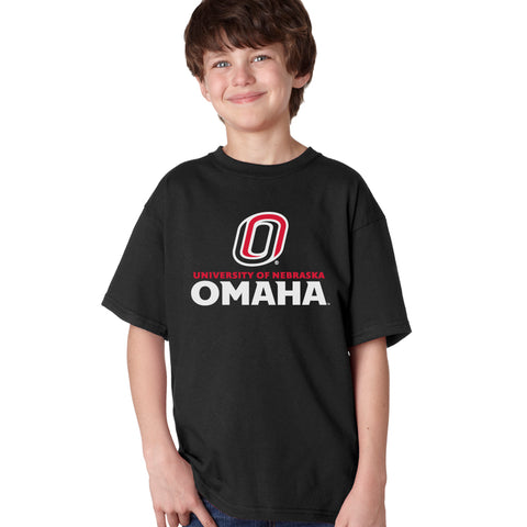 Omaha Mavericks Boys Tee Shirt - University of Nebraska Omaha with Primary Logo on Black
