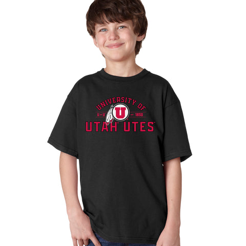 Utah Utes Boys Tee Shirt - U of U Arch with Circle Feather Logo