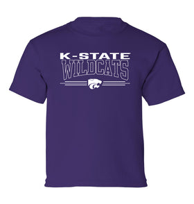 K-State Wildcats Boys Tee Shirt - Wildcats with 3-Stripe Powercat
