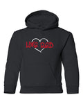 "Nebraska Youth Hooded Sweatshirt - ""Love Red"" White Heart"