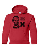 "Abe Lincoln ""No place like NEBRASKA"" Huskers Youth Hooded Sweatshirt"