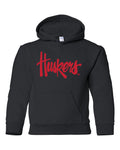 "Nebraska Legacy Script ""Huskers"" Youth Hooded Sweatshirt"