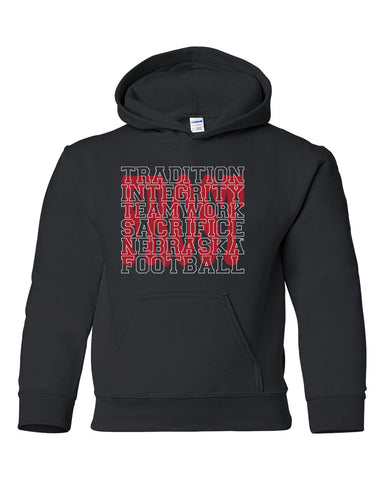 "Nebraska Football with ""FROST"" Background Youth Hooded Sweatshirt"