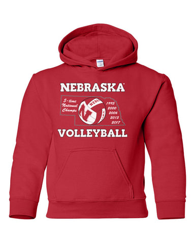 Nebraska Volleyball 5-Time National Champions Youth Hooded Sweatshirt