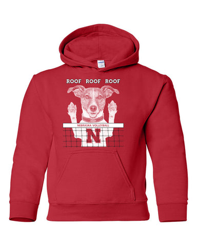 Nebraska Husker Volleyball Spike Dog ROOF ROOF ROOF Youth Hooded Sweatshirt