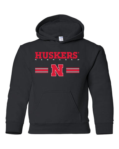 Nebraska Husker Youth Hooded Sweatshirt - HUSKERS Stripe N