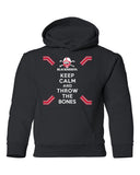 Nebraska Husker Youth Hooded Sweatshirt - Keep Calm and THROW THE BONES