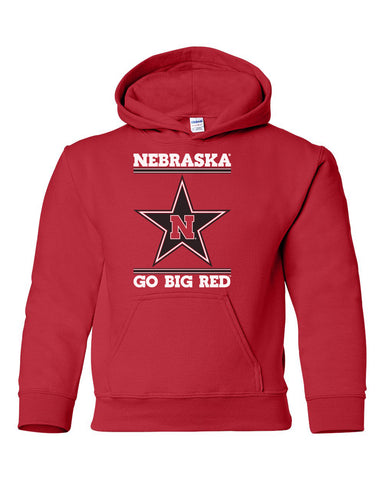 Nebraska Husker Youth Hooded Sweatshirt - Star N GO BIG RED