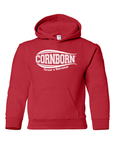 Nebraska Husker Sweatshirt Youth Hooded - CornBorn Forever a Nebraskan