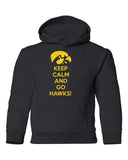 Iowa Youth Hooded Sweatshirt - Keep Calm and Go Hawks